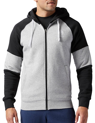 Reebok Organic Cotton-Blend Blocked Hoodie-GREY-Large 88654187_GREY_Large
