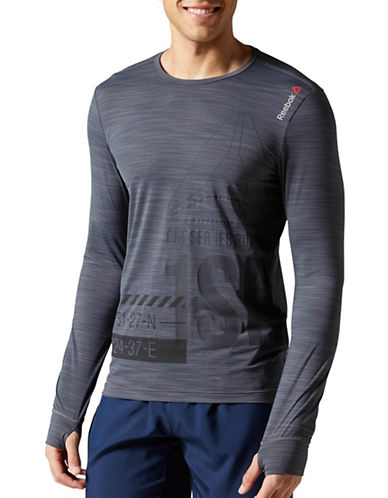 Reebok One Series Running Long Sleeve ACTIVChill Tee-GREY-Small 88512945_GREY_Small
