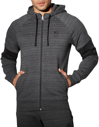 Reebok Organic Cotton-Blend Blocked Hoodie-BLACK-Medium 88654191_BLACK_Medium