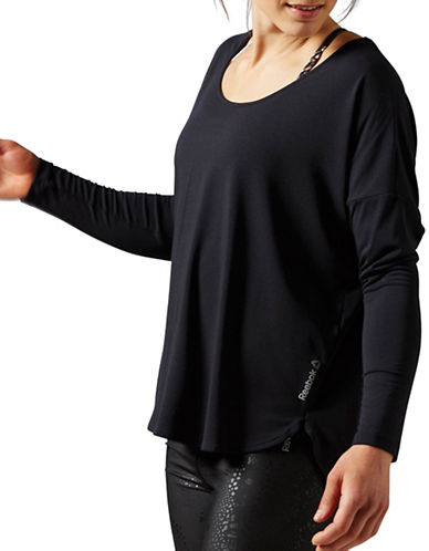 Reebok Studio Lux Long Sleeve Top-BLACK-Medium 88477310_BLACK_Medium