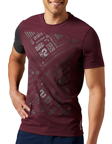 Reebok Colourblocked Graphic T-Shirt-MAROON-X-Large 88765218_MAROON_X-Large