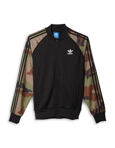 Adidas Zip-Front Camouflage Sleeve Jacket-BLACK-Medium 88424367_BLACK_Medium