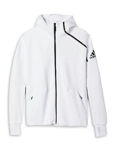 Adidas Z.N.E. Zip-Front Knitted Hoodie-WHITE-X-Large 88517196_WHITE_X-Large