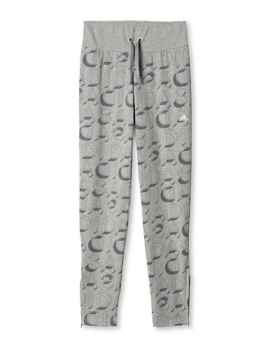 Adidas Allover Text Print Leggings-GREY-Medium 88508148_GREY_Medium