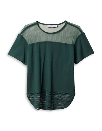 Stella Mccartney Essential Mesh Organic Cotton Tee-GREEN-Large 88690707_GREEN_Large