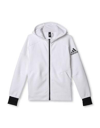 Adidas Long Raglan Sleeve Hooded Jacket-WHITE-X-Large 88634539_WHITE_X-Large