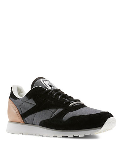 Reebok Fleck Leather Sneakers-BLACK-8.5 88664306_BLACK_8.5