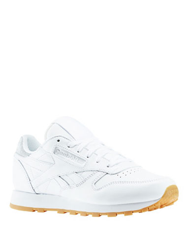 Reebok Womens Nubuck Leather Metallic Diamond Sneakers-WHITE-9