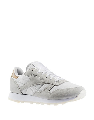 Reebok Womens Classic Suede Combo Sea-Worn Sneakers-GREY-6