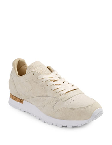 Reebok Mens Monochrome Suede Sneakers-WHITE-13