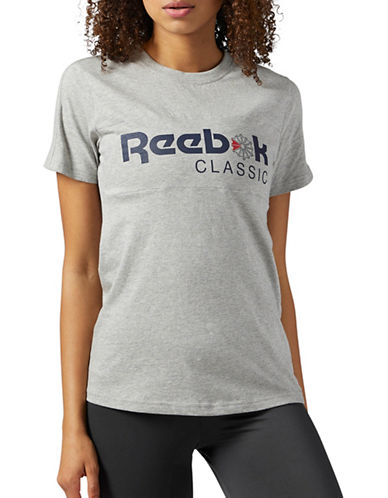 Reebok Cotton Logo Tee-GREY-X-Large