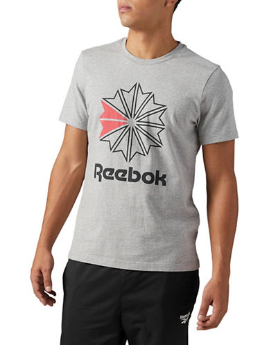 Reebok Starcrest Logo Cotton T-Shirt-GREY-Large