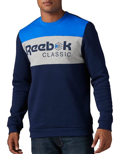 Reebok F Iconic Crewneck Sweatshirt-BLUE-Small