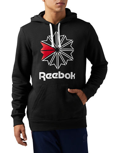 Reebok Starcrest Logo Fleece Hoodie-BLACK-Large