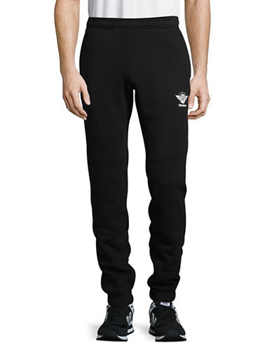 Reebok Fleece-Back Jogging Pants-BLACK-X-Large
