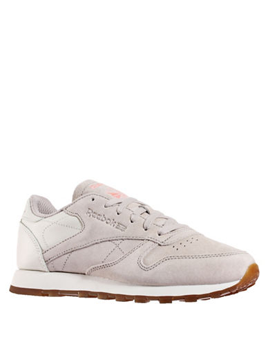 Reebok Lace-Up Leather Sneakers-STONE-7.5