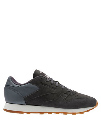 Reebok Lace-Up Leather Sneakers-GREY-9
