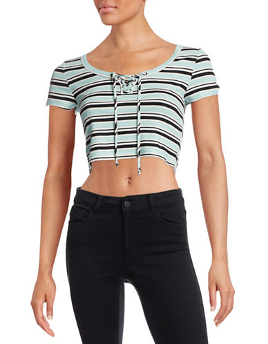 Design Lab Lord & Taylor Striped Lace-Up Knit Top-GREEN-Medium