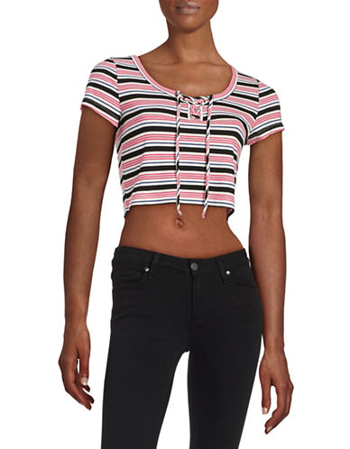 Design Lab Lord & Taylor Striped Lace-Up Knit Top-RED-Large