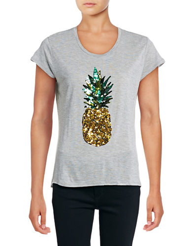 Design Lab Lord & Taylor Sequin Pineapple T-Shirt-GREY-X-Small 88921815_GREY_X-Small