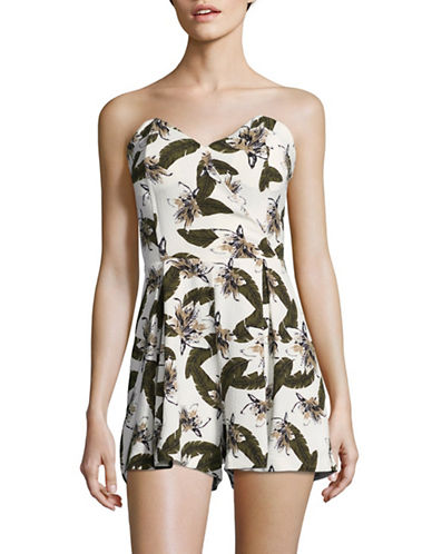 Design Lab Lord & Taylor Strapless Printed Romper-GREEN LEAF-Large