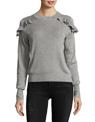 Design Lab Lord & Taylor Ruffle Shoulder Sweater-GREY-Large