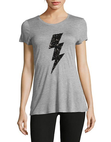 Design Lab Lord & Taylor Sequin Bolt T-Shirt-GREY-X-Small