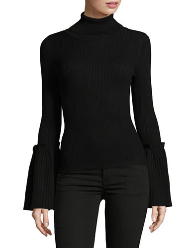 Design Lab Lord & Taylor Bell Sleeve Turtleneck Top-BLACK-X-Small