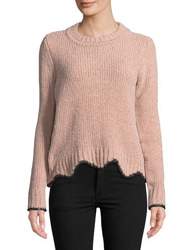 Design Lab Lord & Taylor Zigzag Hem Crew Neck Sweater-PINK-Large