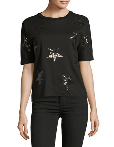 Design Lab Lord & Taylor Star Sequin Tee-BLACK-Small