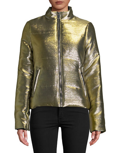 Design Lab Lord & Taylor Metallic Puffer Jacket-GOLD-X-Small