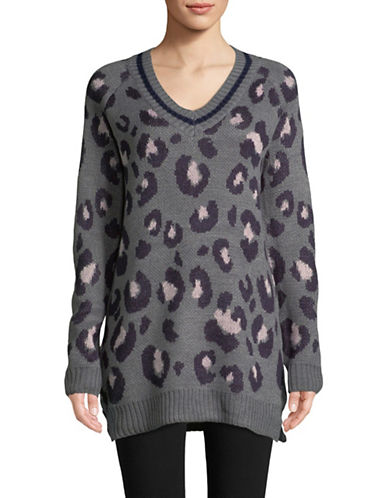 Design Lab Lord & Taylor Leopard-Print Sweater-GREY-Small