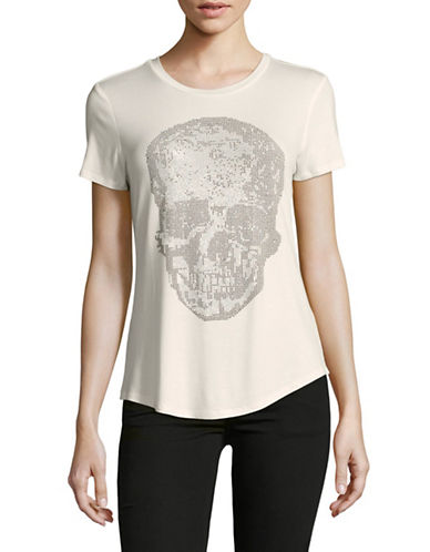 Design Lab Lord & Taylor Embellished Skull Tee-WHITE-X-Small 89632441_WHITE_X-Small