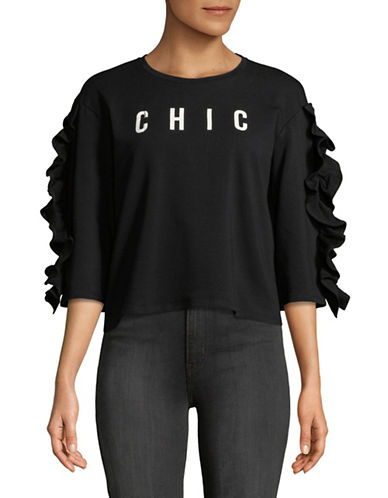 Design Lab Lord & Taylor Graphic Ruffle-Sleeve Sweatshirt-BLACK-Medium 89749248_BLACK_Medium