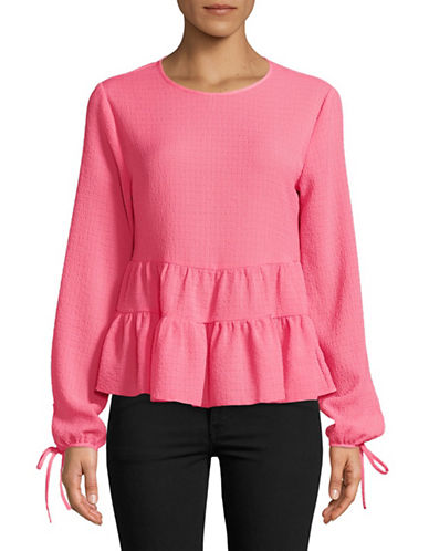 Design Lab Lord & Taylor Long-Sleeve Peplum Top-PINK-Medium
