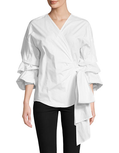 Design Lab Lord & Taylor Tiered Puff Sleeves Wrap Top-WHITE-Medium