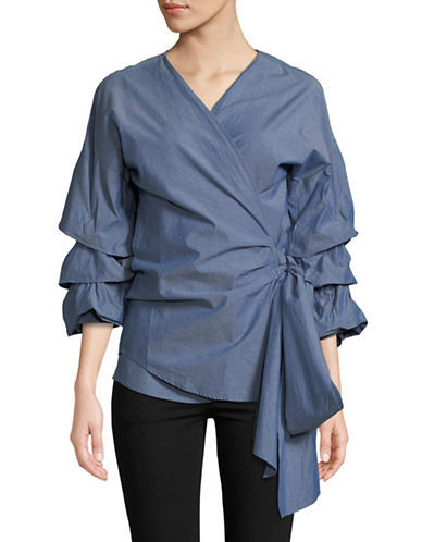 Design Lab Lord & Taylor Tiered Puff Sleeves Wrap Top-BLUE-Small