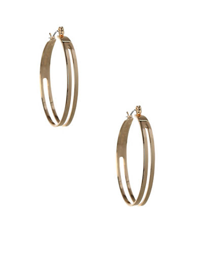 Bcbgeneration Replenishment Two-Row Hoop Earrings-GOLD-One Size
