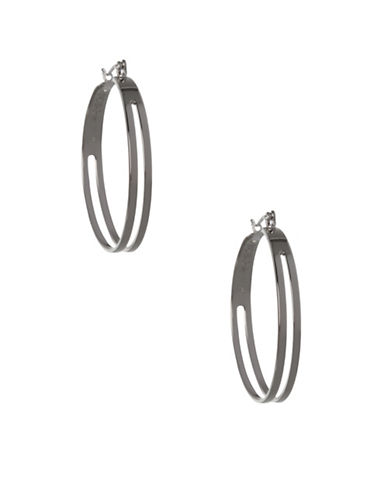 Bcbgeneration Replenishment Silvertone Two-Row Hoop Earrings-SILVER-One Size