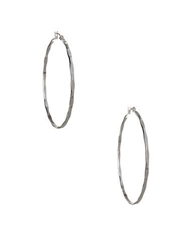 Bcbgeneration Textured Mega Hoop Earrings-SILVER-One Size