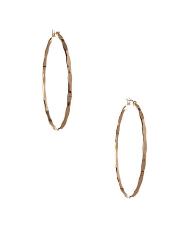 Bcbgeneration Replenishment Goldtone Textured Mega Hoop Earrings-GOLD-One Size