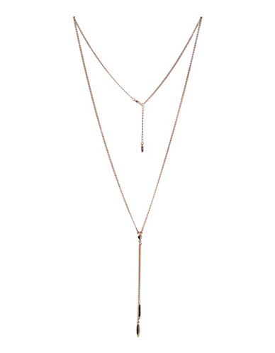 Bcbgeneration Dual Marquise Pendant Y Necklace-PINK-One Size