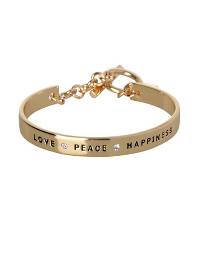 Bcbgeneration Love Peace Happiness Bracelet-GOLD-One Size