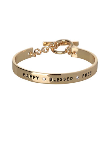 Bcbgeneration 12K Goldplated Happy Blessed Free Bracelet-GOLD-One Size