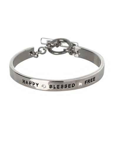 Bcbgeneration Basic Replenishment Silvertone Happy Blessed Free Bracelet-SILVER-One Size