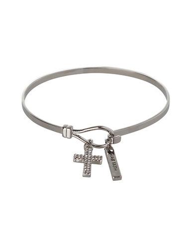 Bcbgeneration Silvertone Cross Charm Bracelet-SILVER-One Size