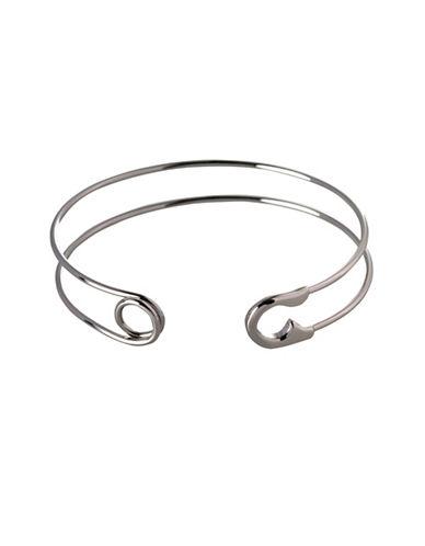 Bcbgeneration Safety Pin Bangle Bracelet-SILVER-One Size
