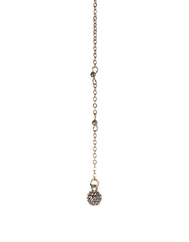 Bcbgeneration Crystal Y Chain Necklace-GOLD-One Size
