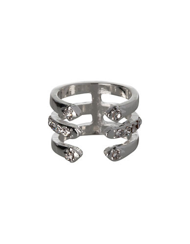 Bcbgeneration Embellished Silverplated Three-Row Ring-SILVER-7