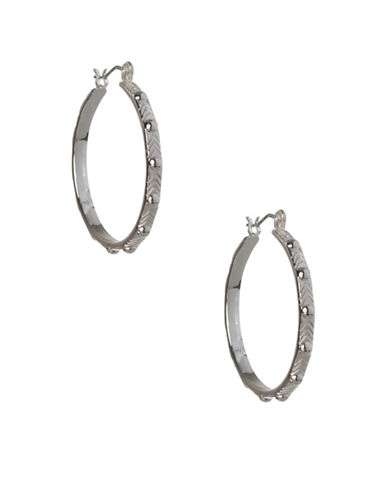 Bcbgeneration Dome Stud Silvertone Hoop Earrings-SILVER-One Size